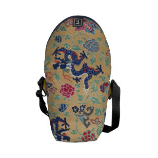 Dragon Chinese Floral Flower Asian Serpent Pattern Messenger Bag