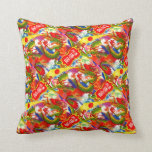 Dragon Chinese New Year Vintage Firecracker Label Throw Pillows
