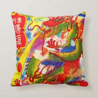 Dragon Chinese New Year Vintage Firecracker Label Throw Pillow