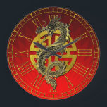 """Dragon Chinese Symbol Prosperity  Red Gradient Large Clock<br><div class=""""desc"""">Dragon Chinese Symbol Prosperity  Red Gradient</div>"""