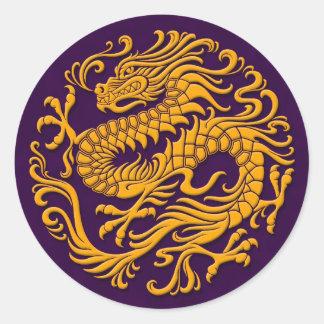 Dragón chino amarillo y púrpura tradicional Circl Etiqueta Redonda