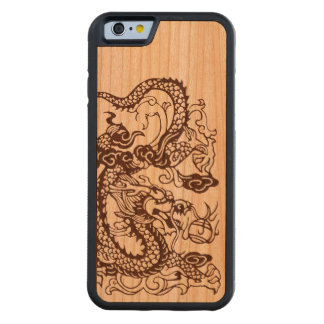 Dragón chino asiático de madera funda de iPhone 6 bumper cerezo