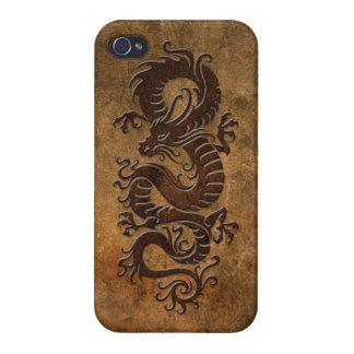 Dragón chino áspero iPhone 4 carcasas