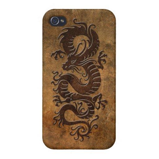 Dragón chino áspero iPhone 4 protector