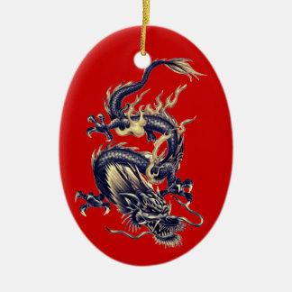 Dragón chino azul #1-NBG de la pizarra y del oro Adorno Navideño Ovalado De Cerámica