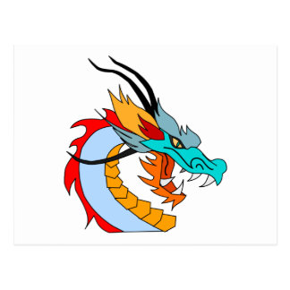 Dragón chino azul, amarillo, rojo, anaranjado postal