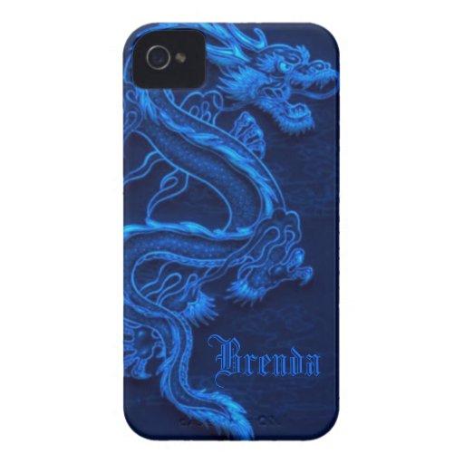 Dragón chino azul iPhone 4 Case-Mate carcasa