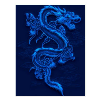 Dragón chino azul tarjetas postales