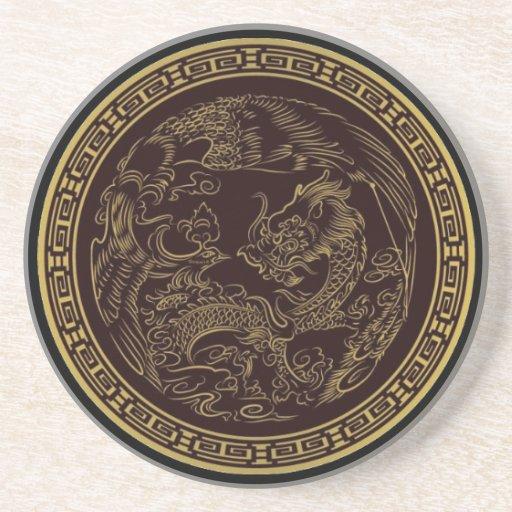 Dragón chino clásico posavasos de arenisca