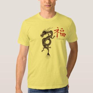 Dragón chino con el símbolo para la camiseta de la remeras