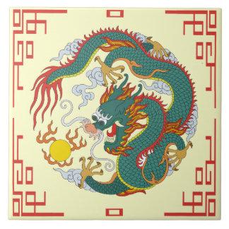Dragón chino con la teja decorativa de la frontera