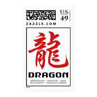 Dragón chino de la astrología sellos postales