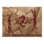 Dragón chino de la mitología, papel arrugado - postal