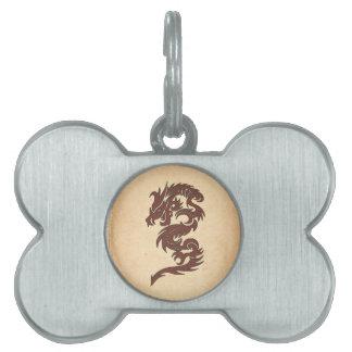 Dragón chino de la mitología, papel viejo - placa mascota