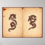 Dragón chino de la mitología, papel viejo - impresiones