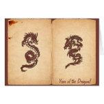 Dragón chino de la mitología, papel viejo - felicitaciones