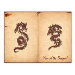 Dragón chino de la mitología, papel viejo - postales