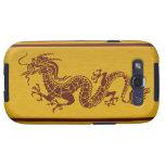 Dragón chino de la mitología, rayas - oro rojo galaxy s3 carcasa