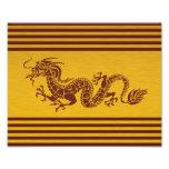 Dragón chino de la mitología, rayas - oro rojo cojinete