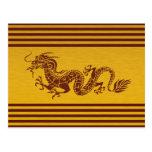 Dragón chino de la mitología, rayas - oro rojo tarjetas postales