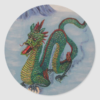 Dragón chino del destino pegatina redonda