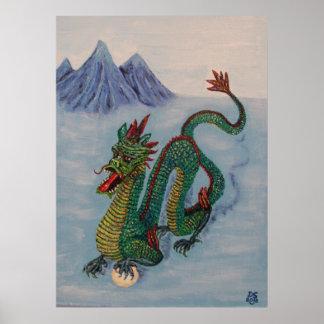 Dragón chino del destino póster