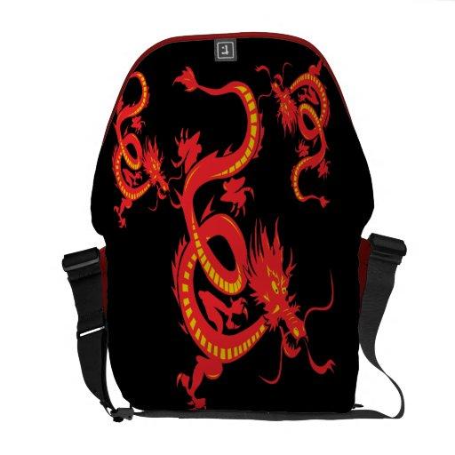 Dragón chino del rojo del Año Nuevo Bolsas De Mensajería