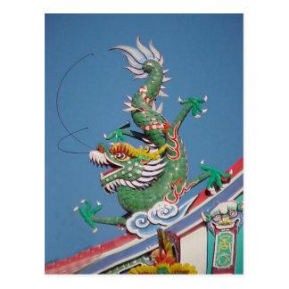 Dragón chino del templo tarjeta postal