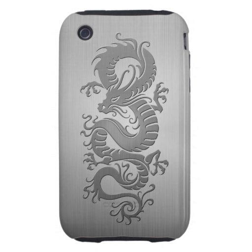 Dragón chino, efecto del acero inoxidable iPhone 3 tough cárcasas