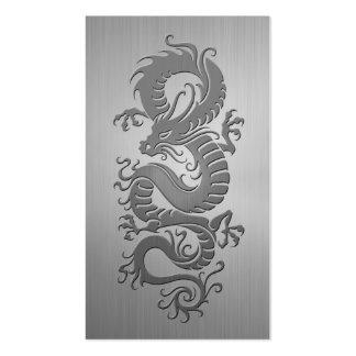 Dragón chino, efecto del acero inoxidable tarjetas de visita