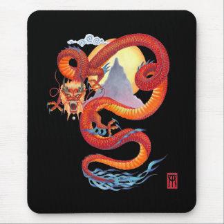 Dragón chino en Mousepad negro