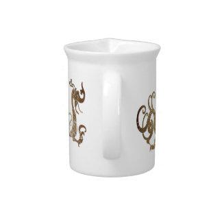 Dragón chino estilizado de bronce jarrón