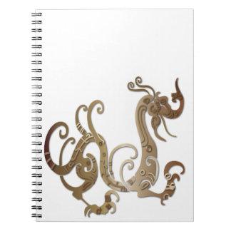 Dragón chino estilizado de bronce libretas espirales