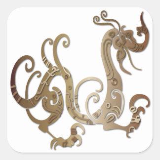 Dragón chino estilizado de bronce pegatina cuadrada