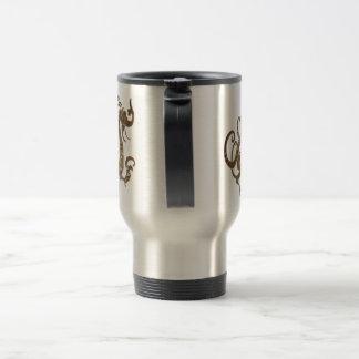 Dragón chino estilizado de bronce taza de viaje de acero inoxidable