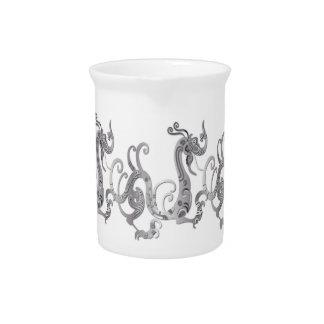 Dragón chino estilizado de la falsa plata jarrones