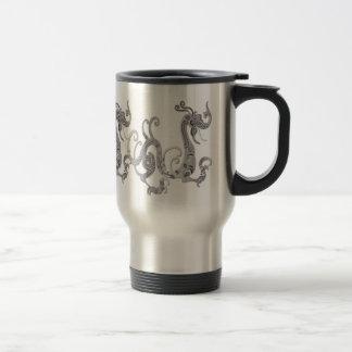 Dragón chino estilizado de la falsa plata taza de viaje de acero inoxidable