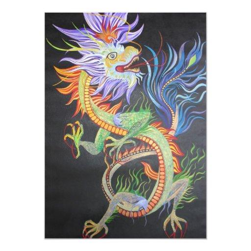 """Dragón chino invitación 5"""" x 7"""""""