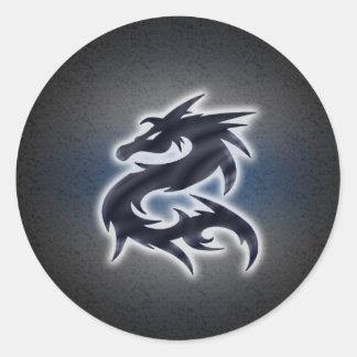 Dragón chino negro pegatina redonda