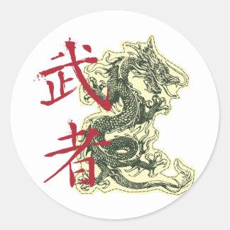 Dragón chino pegatinas redondas