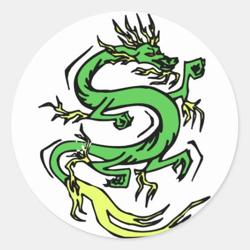 Dragón chino pegatina redonda