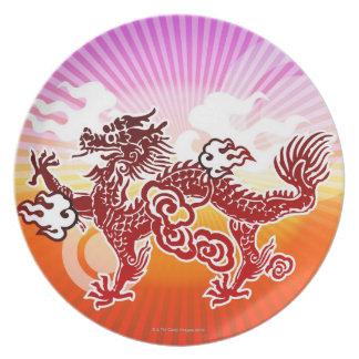 Dragón chino plato para fiesta