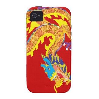Dragón chino rojo para la suerte iPhone 4/4S carcasas