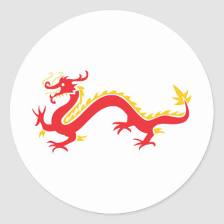 Dragón chino rojo etiquetas redondas