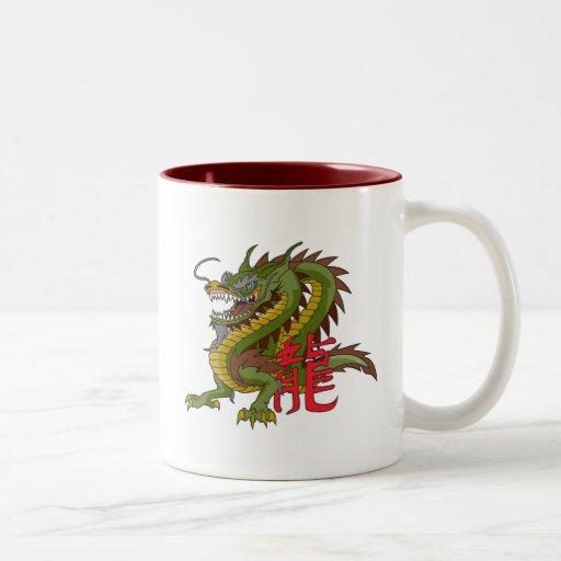 Dragón chino taza dos tonos