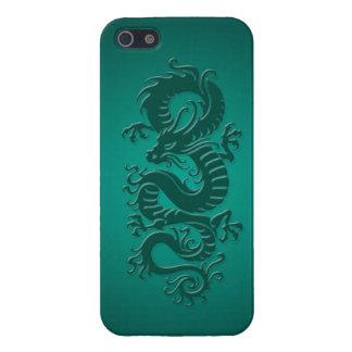 Dragón chino tribal azul del trullo iPhone 5 carcasa