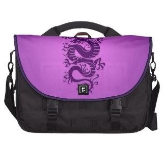 Dragón chino tribal púrpura bolsa de ordenador