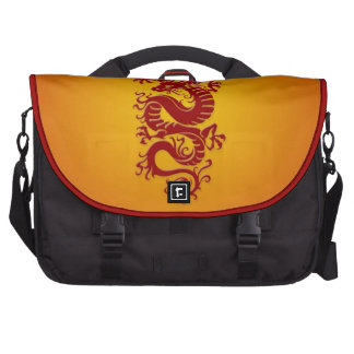 Dragón chino tribal rojo y amarillo bolsas para ordenador