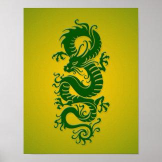 Dragón chino tribal verde y amarillo póster