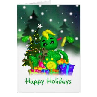 Dragon Christmas Card - Cute Green Dragon With Gif